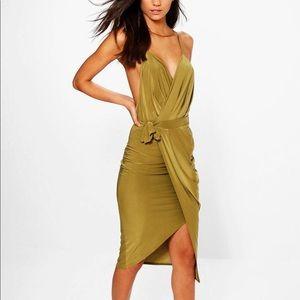 Wrap Plunge slinky Midi Dress